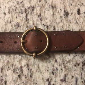 Accessories - Brown belt, Brown, Gold Accents